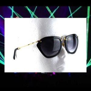 Mui Mui 10N Cat Eye Sunglasses Black with Gold